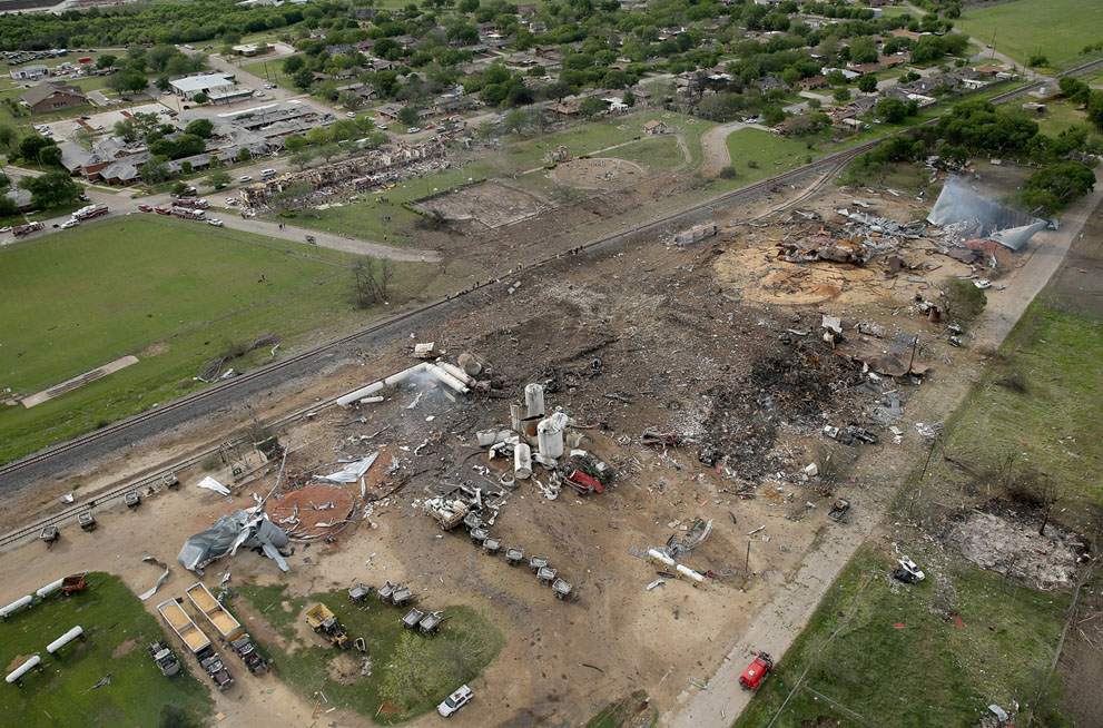 damage from the explosion in West, Texas