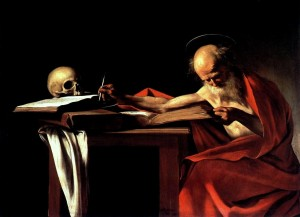 Caravaggio on Jerome studying with skull at desk